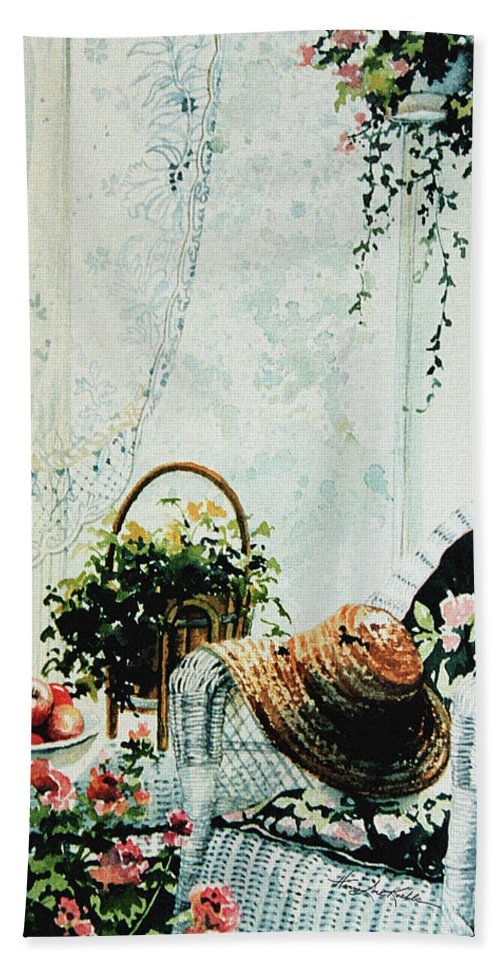 Garden Room Still Life Bath Sheet featuring the painting Rest From Garden Chores by Hanne Lore Koehler