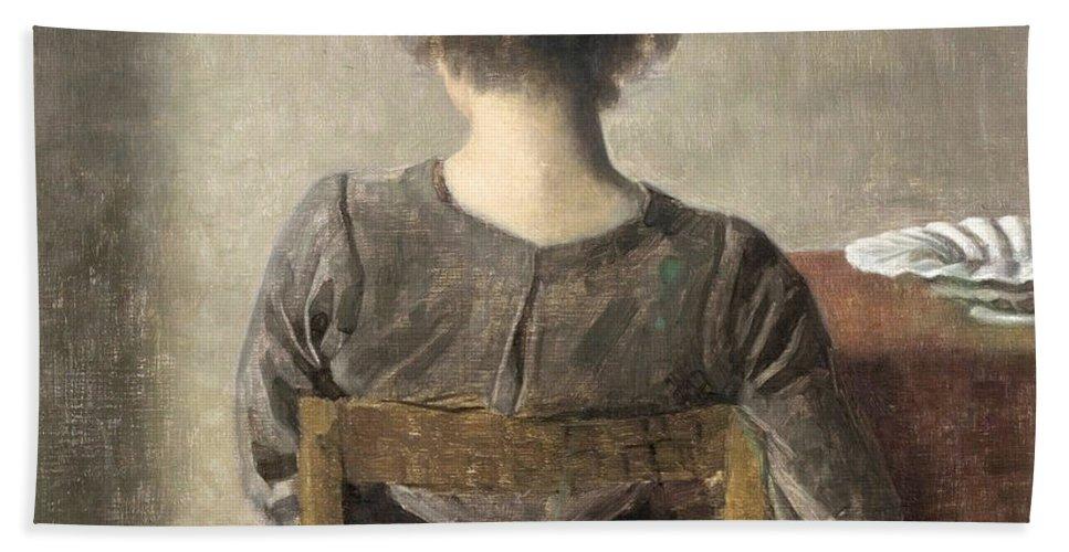 Vilhelm Hammershoi Hand Towel featuring the painting Rest by Vilhelm Hammershoi