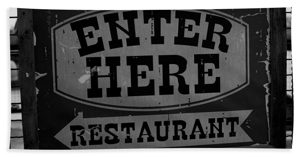 Restaurant Sign Bath Sheet featuring the photograph Restaurant Sign by Cathy Anderson