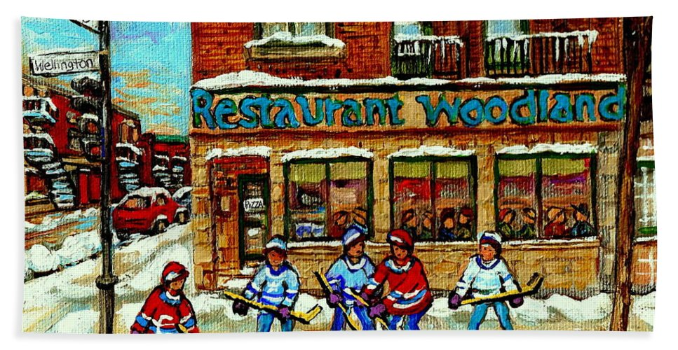 Restaurant Woodland Hand Towel featuring the painting Restaurant Woodland Pizza Rue Wellington Verdun Original Hockey Art Montreal Paintings Commissions  by Carole Spandau