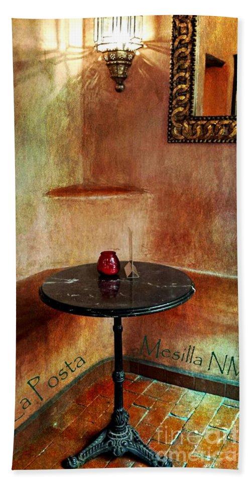 La Posta Restaurant Hand Towel featuring the painting Restaurante La Posta by Barbara Chichester