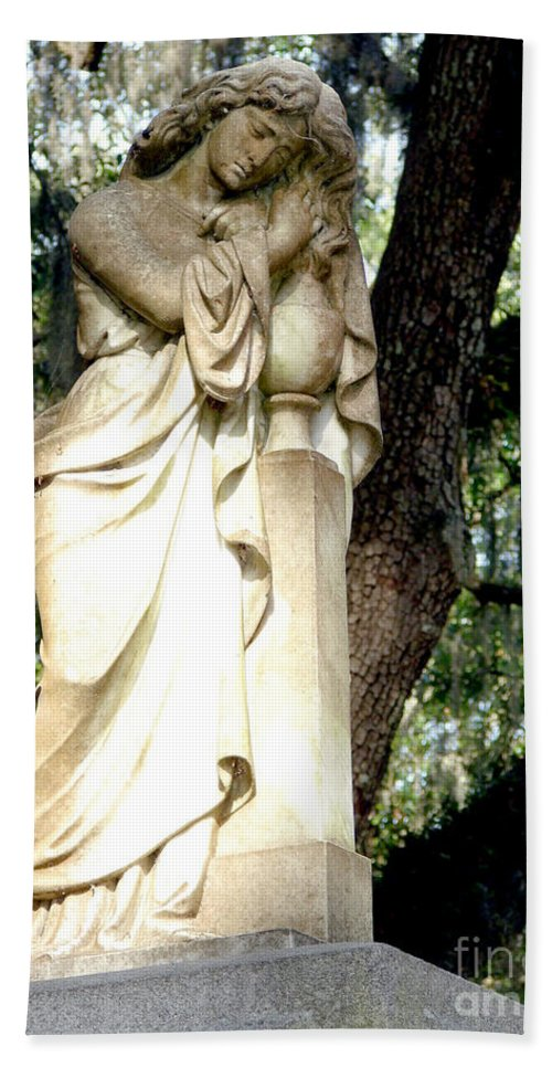 Statue Hand Towel featuring the photograph Restful Guardian by Leara Nicole Morris-Clark
