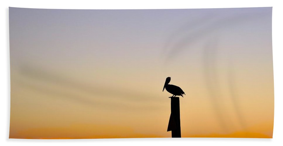 Pelican Bath Sheet featuring the photograph Pelican Fishing At Sunset II by Kristina Deane