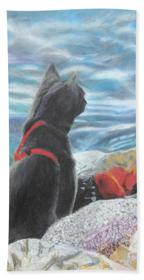 Cat Bath Sheet featuring the painting Resting By The Shore by Jeanne Fischer
