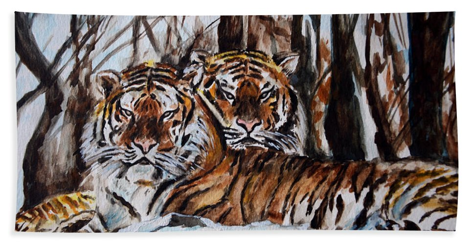 Tiger Bath Sheet featuring the painting Resting by Harsh Malik