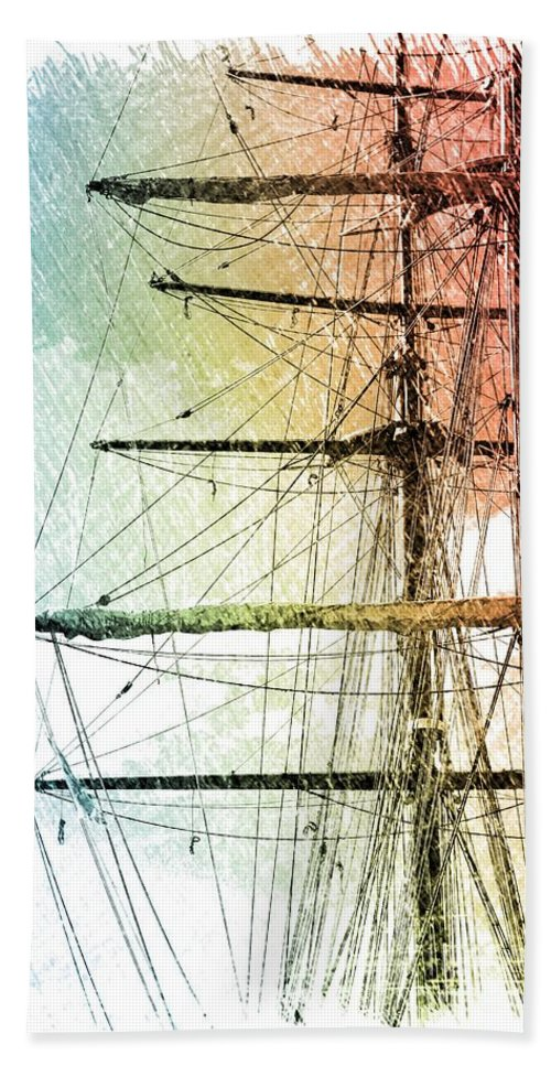 Ship Hand Towel featuring the photograph Resting In Harbor by Carol Groenen