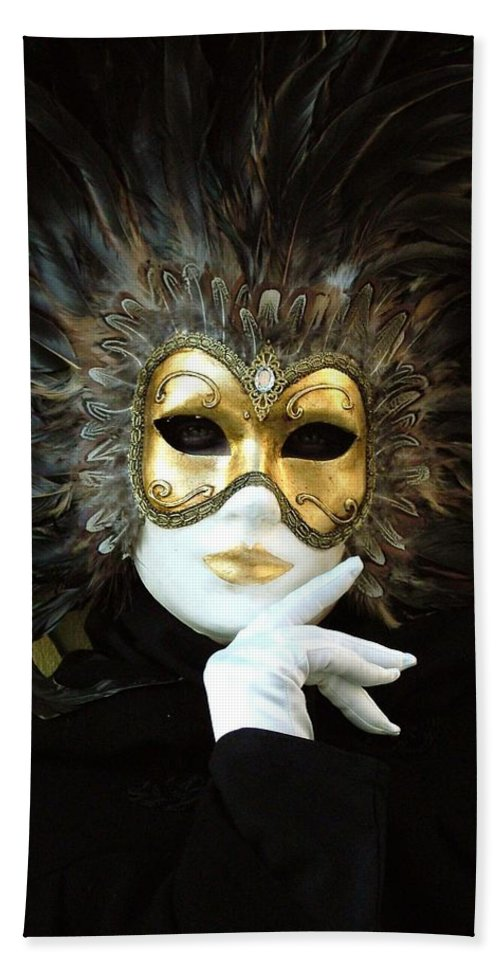 Venice Carnival Bath Sheet featuring the photograph Resting On Her Hand by Donna Corless