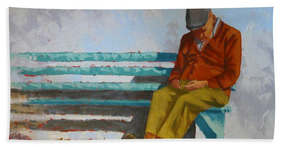 Figure Hand Towel featuring the painting Resting by Yvonne Ankerman