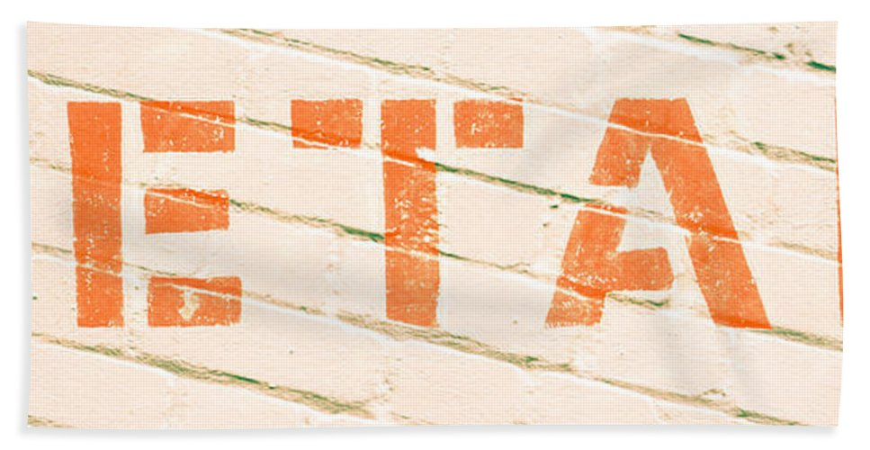 Abstract Bath Towel featuring the photograph Retail Sign by Tom Gowanlock