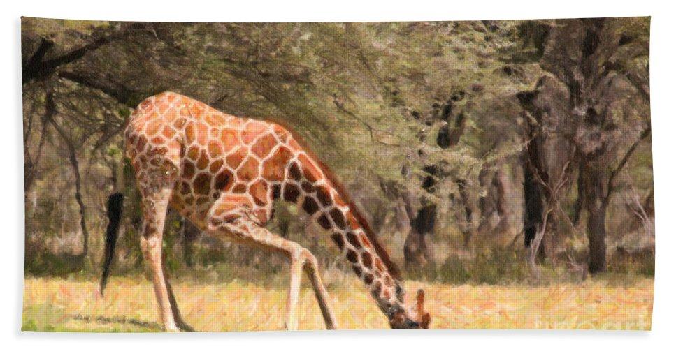 Giraffe Hand Towel featuring the digital art Reticulated Giraffe Drinking At Waterhole Kenya by Liz Leyden