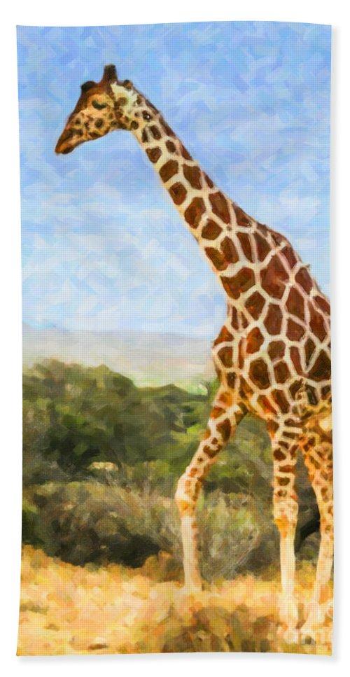 Reticulated Giraffe Hand Towel featuring the digital art Reticulated Giraffe Kenya by Liz Leyden