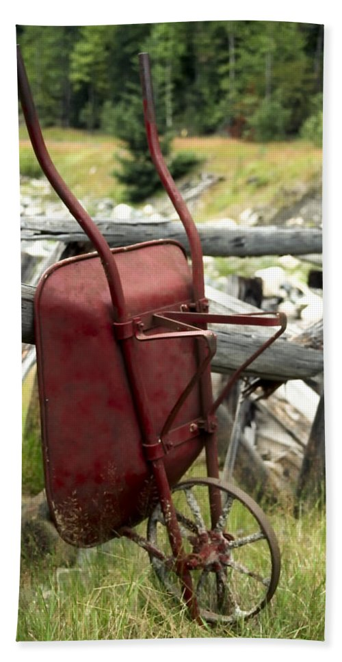 Slocan Valley Bath Sheet featuring the photograph Retired Wheelbarrow by Roderick Bley