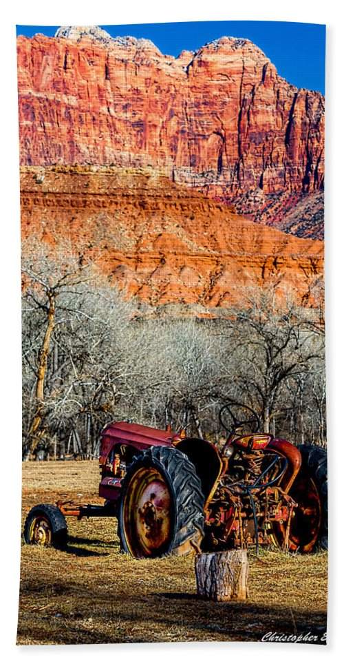 Tractor Hand Towel featuring the photograph Retired With A View by Christopher Holmes