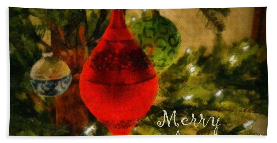 Merry Christmas Bath Sheet featuring the photograph Retro Christmas by Michelle Calkins