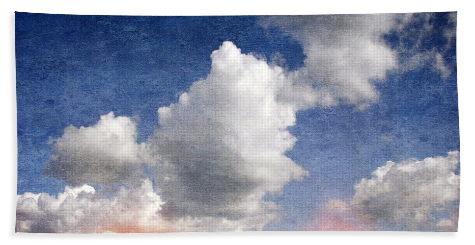 Retro Hand Towel featuring the digital art Retro Clouds 2 by Steve Ball