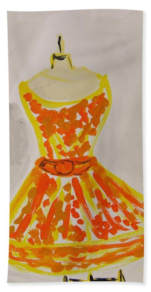 Retro Fall Fashion Hand Towel featuring the painting Retro Fall Fashion by Mary Carol Williams