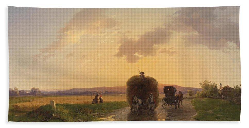 Ignaz Raffalt Bath Sheet featuring the painting Return From The Field In The Evening Glow by Ignaz Raffalt