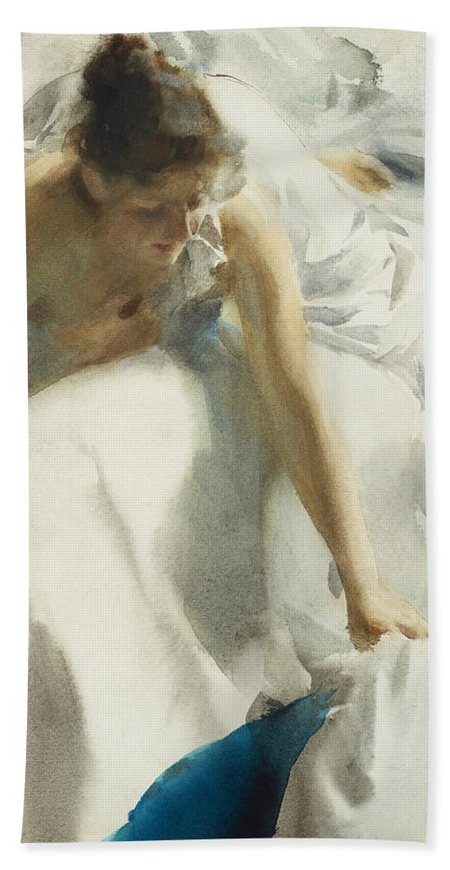 Anders Zorn Bath Sheet featuring the digital art Reveil by Anders Zorn