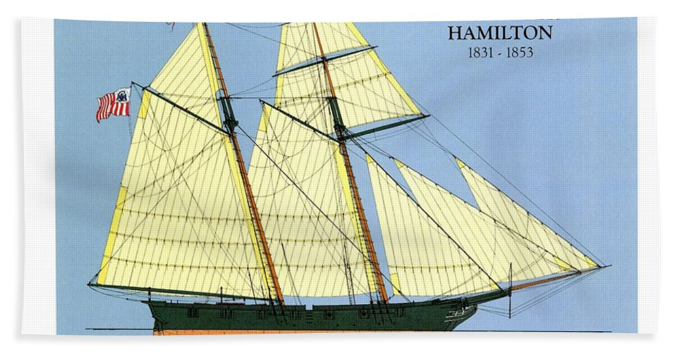 Uscg Hand Towel featuring the drawing Revenue Cutter Alexander Hamilton by Jerry McElroy - Public Domain Image