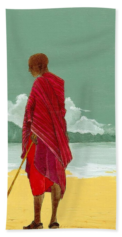 Figurative Painting Bath Towel featuring the painting Reverence by Edith Peterson-Watson