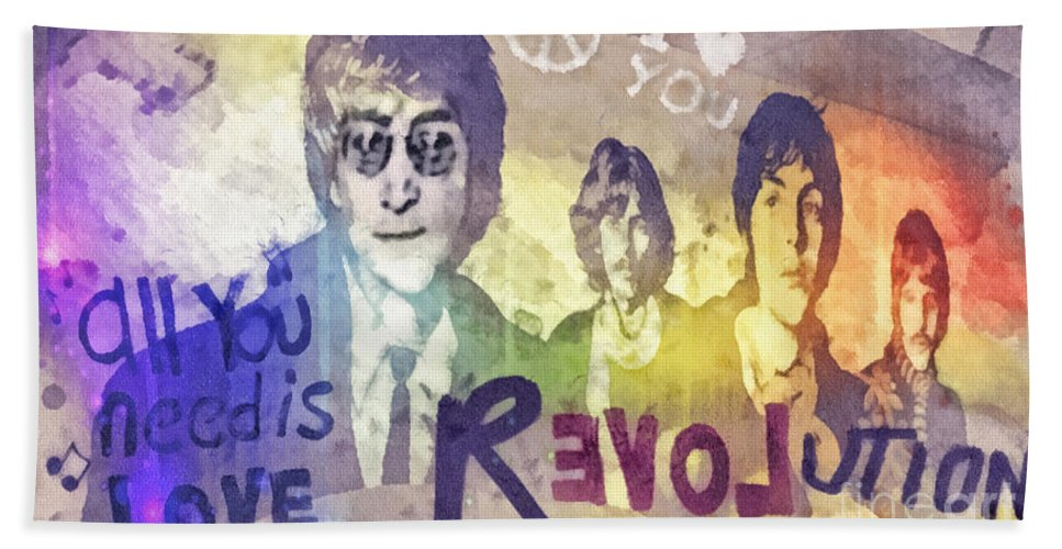Revolution Bath Towel featuring the mixed media Revolution by Mo T