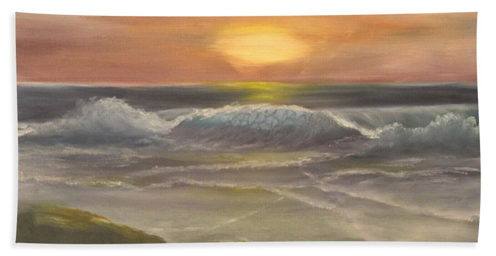 Seascape Hand Towel featuring the painting Rhapsody Of Waves by Lou Magoncia
