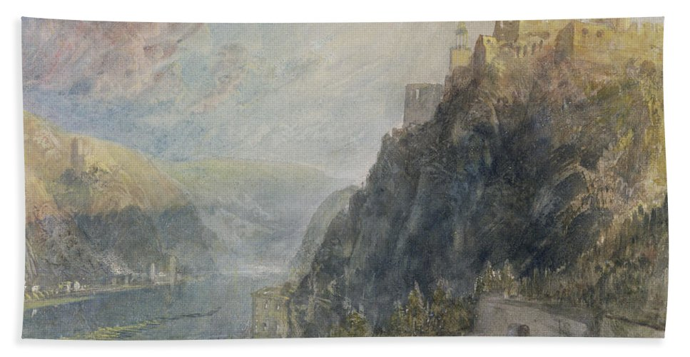 Turner Bath Sheet featuring the painting Rheinfels Looking To Katz And Gourhausen by Joseph Mallord William Turner