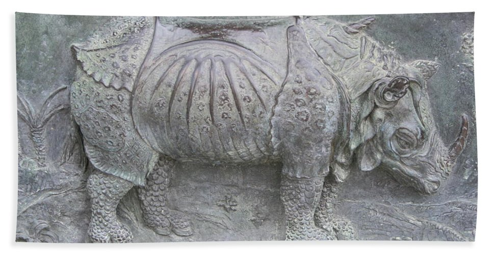 Bronze Relief Hand Towel featuring the photograph Rhino Relief - Church Door Detail Pisa by Christiane Schulze Art And Photography