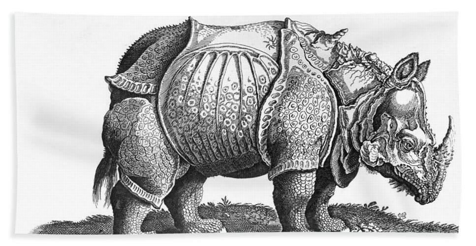 Rhino Bath Sheet featuring the drawing Rhinoceros No 76 From Historia Animalium By Conrad Gesner by Albrecht Durer