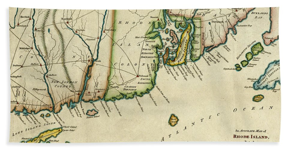 Antique Map Of Rhode Island Hand Towel featuring the photograph Rhode Island 1780 by Andrew Fare