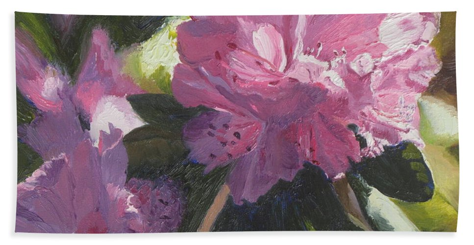 Flowers Bath Towel featuring the painting Rhododendron Squared by Lea Novak