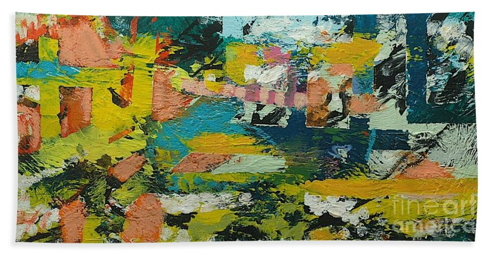 Landscape Bath Sheet featuring the painting Rhythm On Jackson by Allan P Friedlander