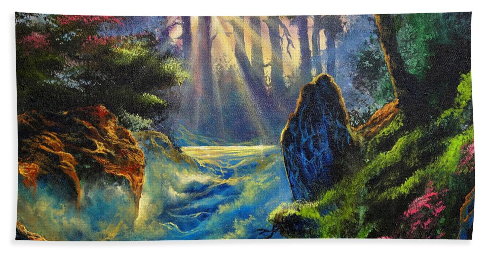 Landscape Hand Towel featuring the painting Rhythms Of A Vision by Marco Antonio Aguilar