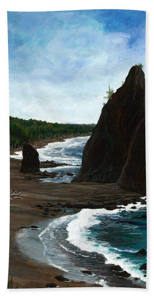 Beach Hand Towel featuring the painting Rialto Beach Wa by Carlene Salazar
