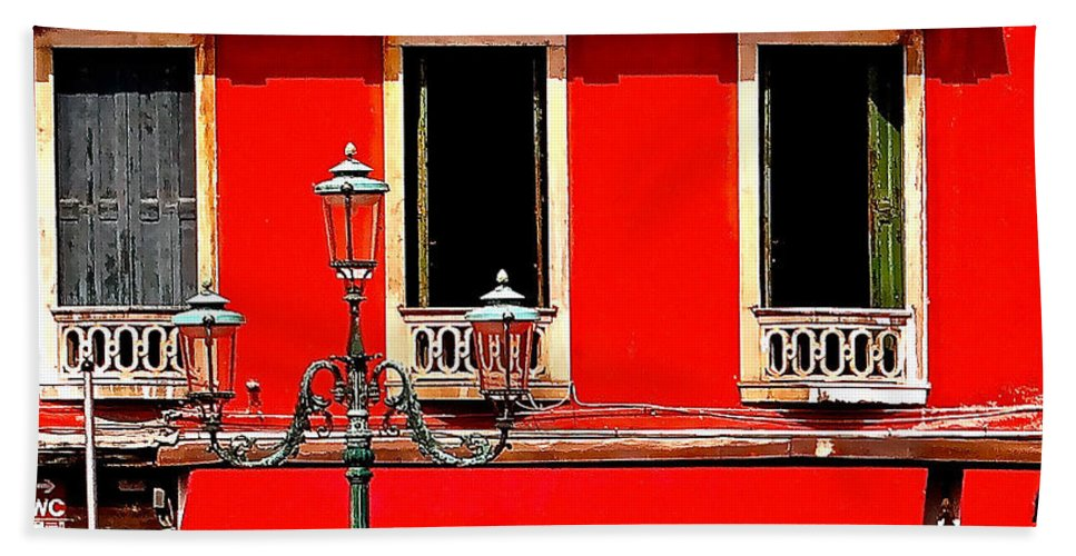 Venice Bath Sheet featuring the photograph Rialto Red by Ira Shander