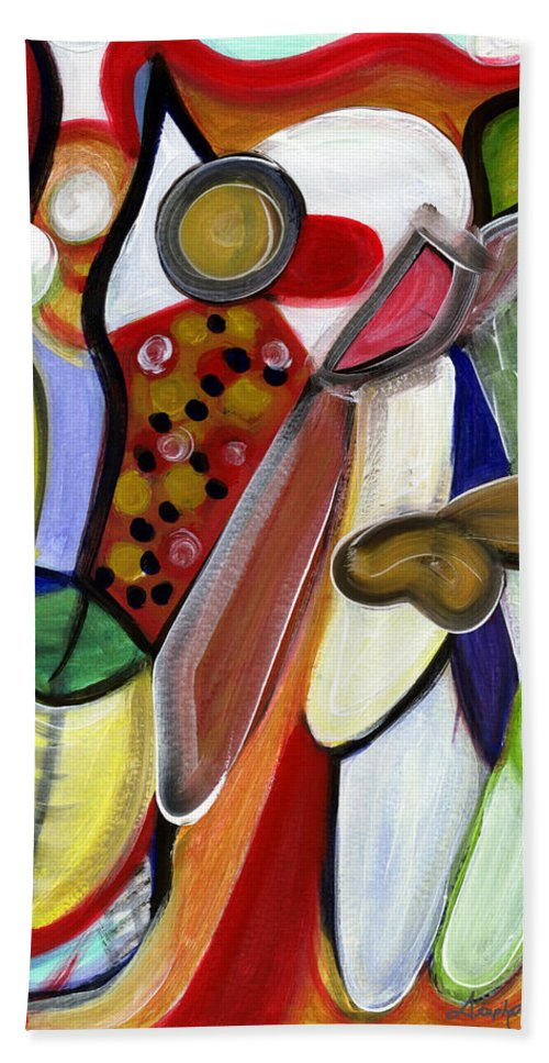 Abstract Art Bath Sheet featuring the painting Rich In Character by Stephen Lucas