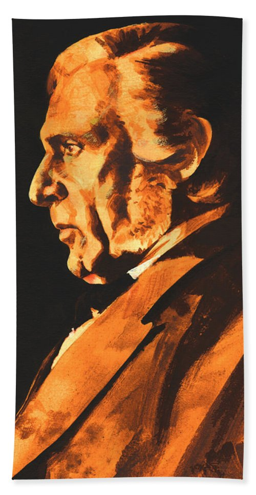 Composer Hand Towel featuring the painting Richard Wagner by Derrick Higgins