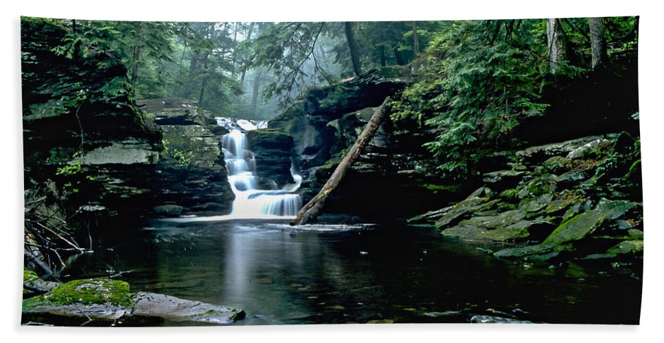 Ricketts Glen State Park Bath Towel featuring the photograph Ricketts Glen Falls 016 by Scott McAllister