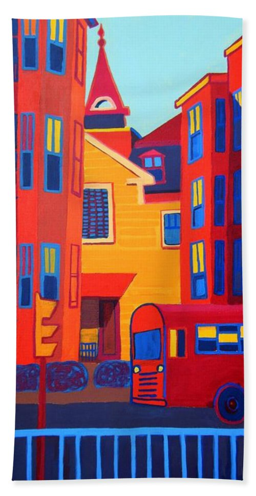 Buildings Bath Sheet featuring the painting Ride on the Early Morning Light by Debra Bretton Robinson