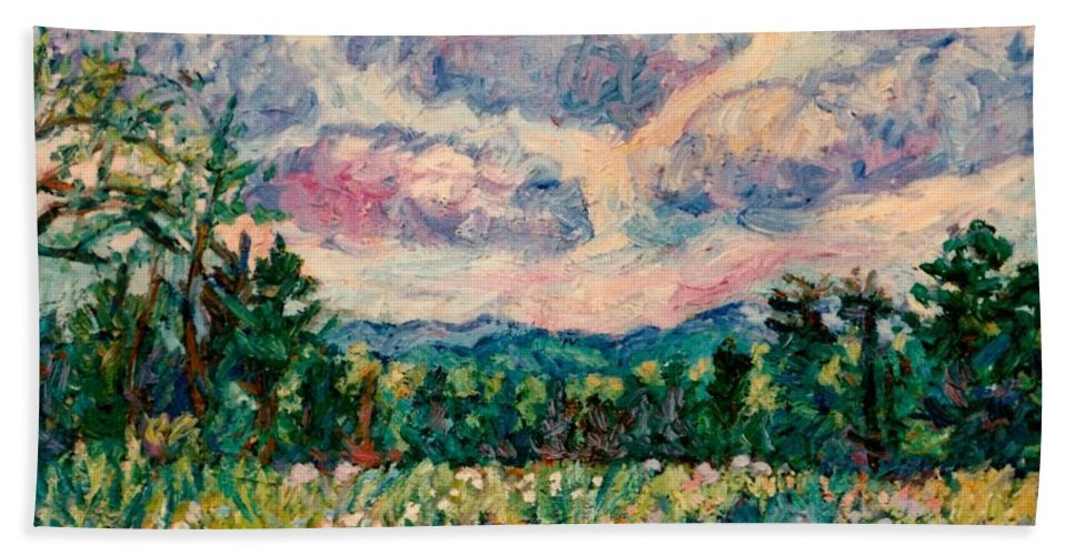 Blue Ridge Mountains Bath Sheet featuring the painting Ridge Light by Kendall Kessler
