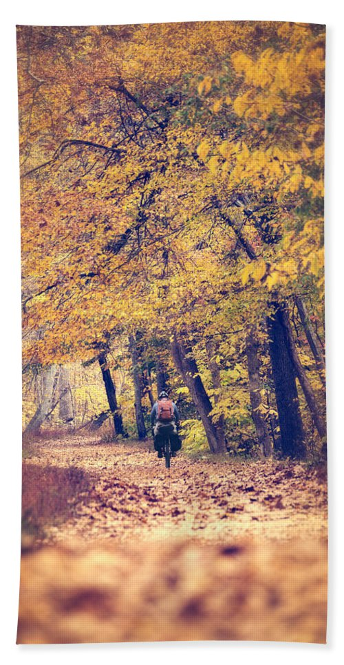 Autumn Hand Towel featuring the photograph Riding A Bike In Autumn by Leslie Banks