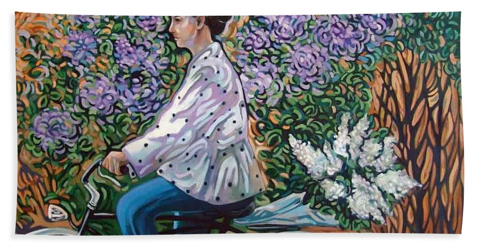 Bycicle Bath Sheet featuring the painting Riding Bycicle For Lilac by Rita Pranca