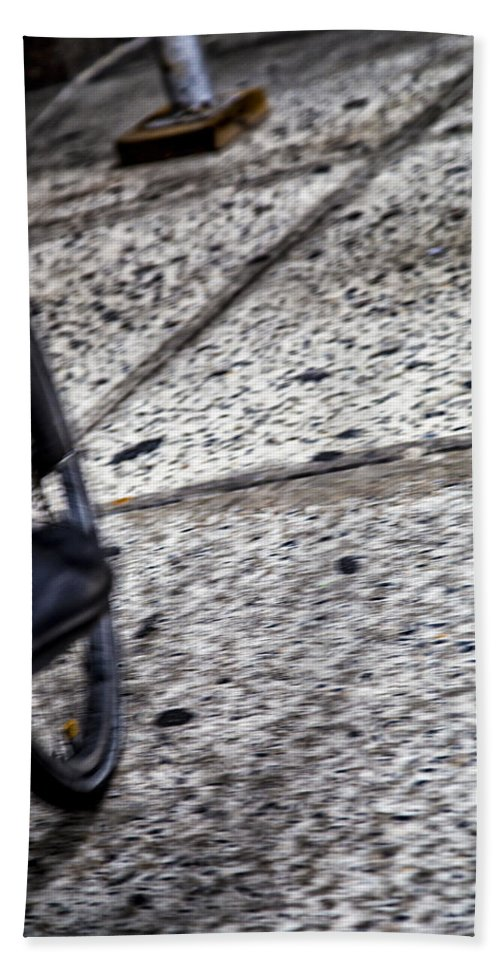 Riding Bath Sheet featuring the photograph Riding On The Sidewalk by Karol Livote
