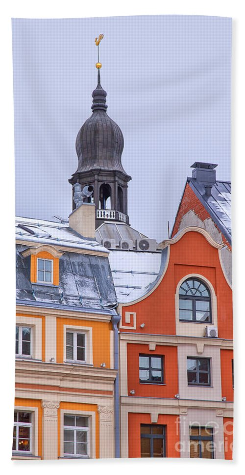 Red Hand Towel featuring the photograph Riga Old Town by Sophie McAulay