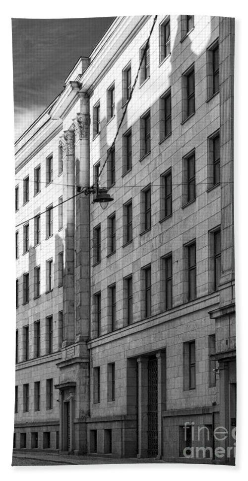 Architecture Bath Sheet featuring the photograph Riga Soviet Architecture 01 by Antony McAulay