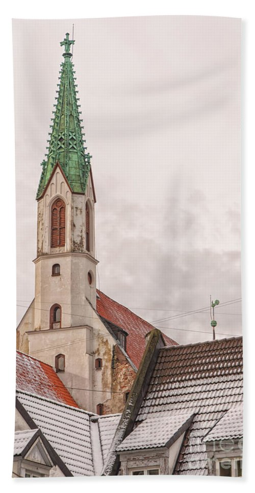 Church Bath Sheet featuring the photograph Riga St Johns Church by Antony McAulay