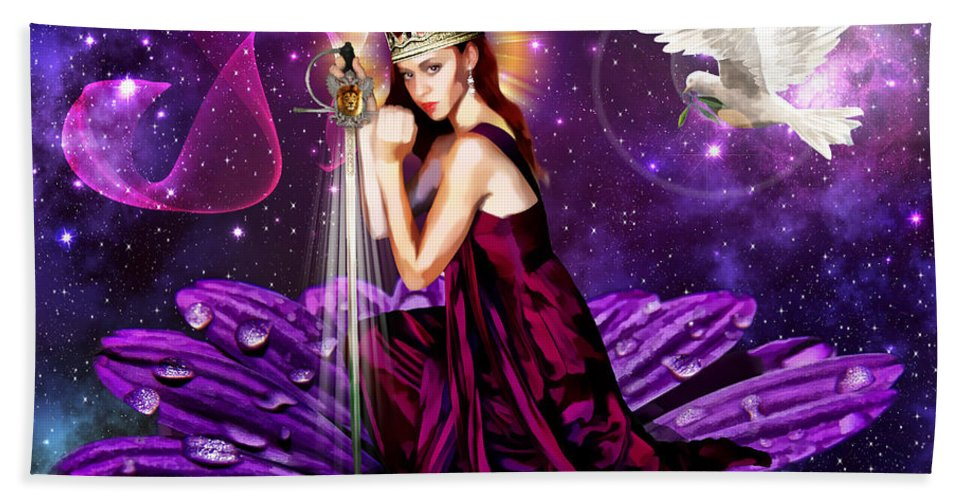 Righteousness Hand Towel featuring the mixed media Righteous Warrior Bride by Dolores Develde