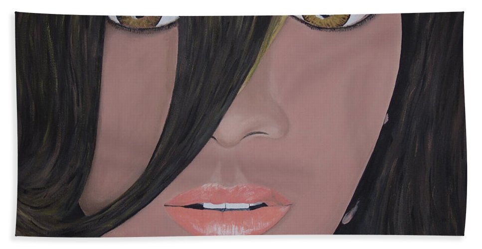 Acrylic Painting Bath Towel featuring the painting Rihanna by Dean Stephens