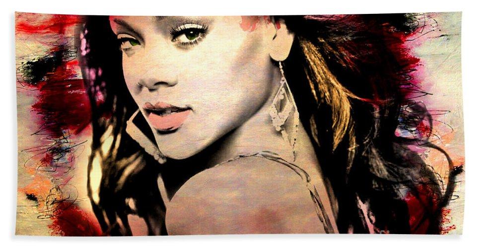 Rihanna Bath Sheet featuring the painting Rihanna by Mark Ashkenazi
