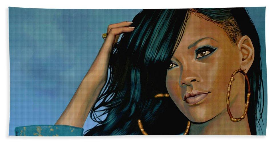 Rihanna Bath Sheet featuring the painting Rihanna Painting by Paul Meijering